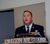 142nd Command Chief Master Sgt. Chris Roper thanks friends and family following a Change of Authority ceremony, Sept. 13, 2015, Portland Air National Guard Base, Ore. (U.S. Air National Guard photo by Tech. Sgt. Aaron Perkins, 142nd Fighter Wing Public Affairs/released)