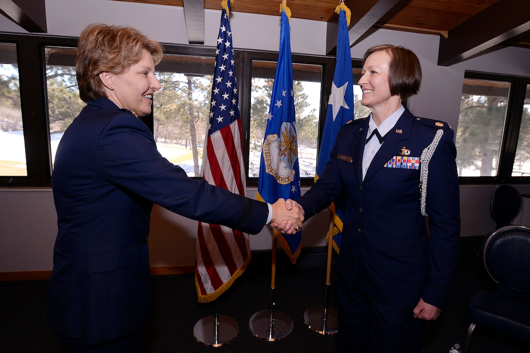 Maj. Phyllis Pelky (right), 45, a former aide-de-damp to Lt. Gen. Michelle D. Johnson (left), the superintendent of the U.S. Air Force Academy, was killed in a non-hostile helicopter crash near Kabul, Afghanistan, Oct. 11, 2015. (U.S. Air Force photo/Mike Kaplan)