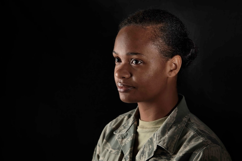 Senior Airman Augustine Thompson-Brown is a 35th Medical Operations Squadron mental health technician at Misawa Air Base, Japan. Thompson-Brown spent most of her life homeless before joining the Air Force and shares her story to inspire others to conquer their own difficulties. (U.S. Air Force photo/Airman 1st Class Jordyn Fetter)