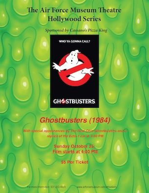 "The original 1984 film ""Ghostbusters"" will be shown at 4 p.m. on Oct. 25, 2015, at the Air Force Museum Theatre. Come early to see a full-scale replica of the Ecto-1 (the Ghostbuster's famous car) and a team of Ghostbusters. (Photo provided)"