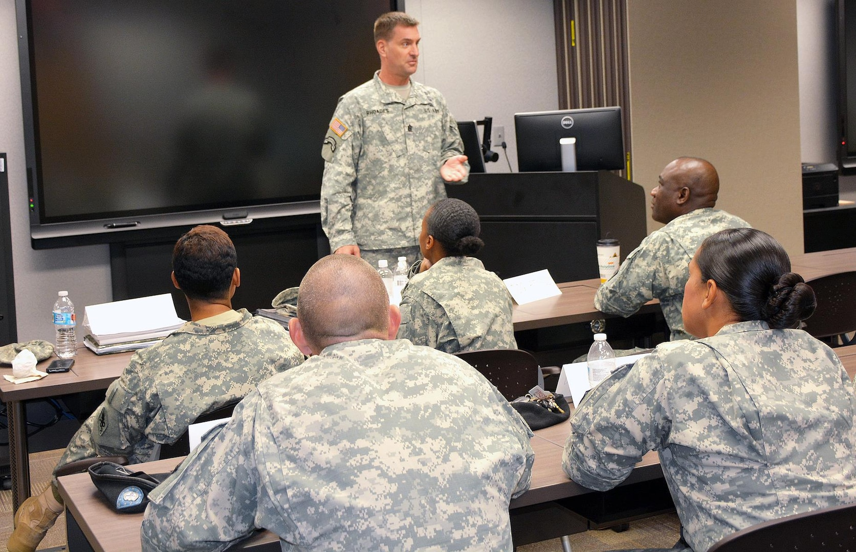 U.S. Army Medical Department Center and School, U.S. Army Health Readiness Center of Excellence, Command Sgt. Maj. Andrew Rhoades speaks to a class attending the Sexual Harassment/Assault Response and Prevention course Sept. 25 in Willis Hall, AMEDDC&S, HRCoE.  The training ensures AMEDDC&S HRCoE maintains a sufficient number of victim advocates and SHARP advisors to assist command teams with prevention and awareness, training and responding to reports of sexual harassment and sexual assault.