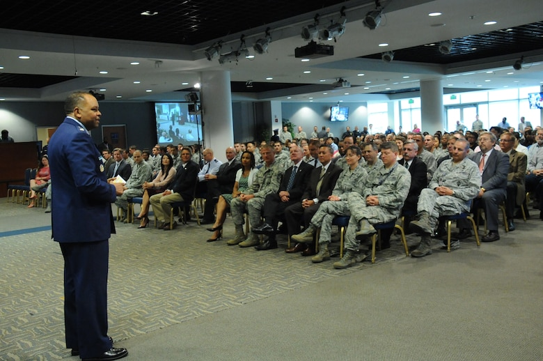 Lt. Gen. Samuel Greaves, Space and Missile Systems Center commander and Air Force Program Executive Officer for Space speaks at the stand-up of the new Launch Systems Enterprise Directorate, Oct 14. (U.S. Air Force photo/Van De Ha)