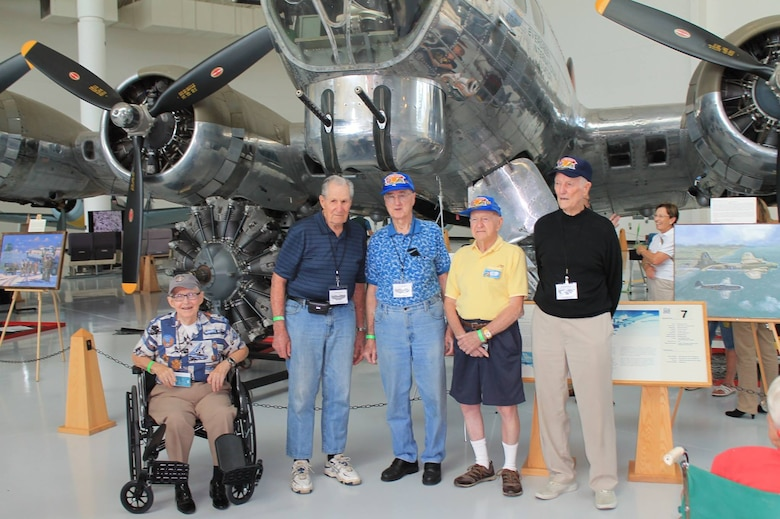 Veterans of the 6th Bomb Group pose for a picture in front of a Boeing B-17G Flying Fortress at the Evergreen Aviation & Space Museum in McMinnville, Oregon, on 11 September 2015.  From left to right are Dick Randall, Ed Vincent, Virgil Morgan, Bob Frick and Warren Higgins.  (Courtesy Mr. Philip Conroy)