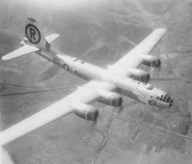 "The B-29 ""Wun Wing Lo"" was assigned to the 40th Bomb Squadron.  It was flown by the Capt. Harrison M. Harp, Jr. Crew, #40r4.  Sgt Arthur H. ""Art"" Angel, a mechanic who worked on this airplane, recalled how the aircraft got its name after a truck ran into one of the wings, which was replaced.  The replacement wing hung lower that the other wing, and the aircraft was then named.   Mrs. Elaine Angel attended the 6th Bomb Group's Portland reunion in honor of her late husband.  (Courtesy Mr. John Potenza, via 6th Bomb Group Association)"