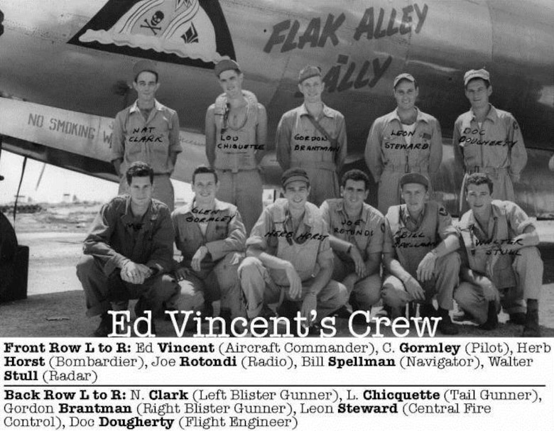 "Aircraft Commander Ed Vincent completed 32 combat missions in charge of Crew 4012 assigned to the 40th Bomb Squadron.  The crew flew the Superfortress ""Flak Alley Sally,"" a B-29-55-BW, serial number 42-24878.  In the front row, left to right are  1st Lt. Edgar L. Vincent (Aircraft Commander), 2nd Lt. Glenn Gormley (Pilot), 1st Lt. Herbert G. Horst (Bombardier), S/Sgt Joseph N. Rotondi (Radio Operator), 1st Lt. William G. Spellman (Navigator) and S/Sgt Walter H. Stull (Radar Operator) man Standing in the back row, left to right are S/Sgt Nathaniel B, Clark (Left Gunner), Sgt. Louis L.  Chiquette (Tail Gunner), S/Sgt Gordon P. Brantman (Right Gunner), T/Sgt Leon Steward (Central Fire Control Gunner) and M/Sgt Charles W. Dougherty (Flight Engineer).  (Courtesy 6th Bomb Group Association)"
