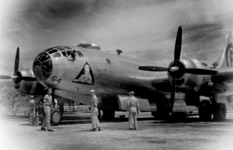 "Flight Engineer Morgan flew some of his 19 combat missions with Crew # 40r2 aboard Victor 54, also known as ""Battling Betty,"" a B-29-65-BW Superfortress, serial number 44-69847 assigned to the 40th Bomb Squadron.  (Courtesy Mr. Mark Furman, via 6th Bomb Group Association)"