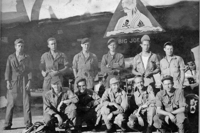 "Co-historian David Wilson's father, Sgt. Bernard E. Wilson, was a left gunner the 24th Bomb Squadron's in the Howett crew of Crew # 2404.  The crew's first missions were flown in ""Big Joe,"" with an experienced Aircraft Commander, pictured with them here, and then later they all flew in ""Anonymous IV.""  Standing, from left to right, are Sgt. Bernard E. Wilson (Left Gunner), Cpl. Jack B. Denny (Right Gunner), Cpl. Marion L. Long (Tail Gunner), Sgt. Malcolm W. Douglas (Flight Engineer), S/Sgt. Raymond E. Raetz (Central Fire Control Gunner), Sgt. James C. Bishop (Radio Operator).  