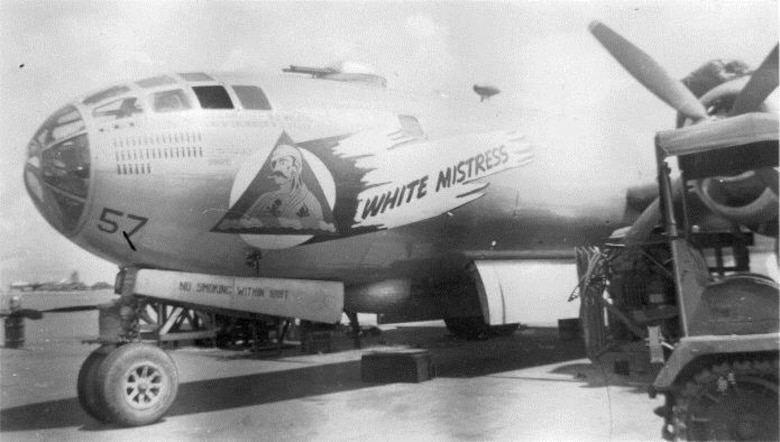"Mrs. Shirley Bates father Ralph C. Wilson was the aircraft commander of the Wilson Crew (Crew # 4007) of the 40th Bomb Squadron, who flew the Superfortress ""White Mistress,"" a B-29-50-BW, serial number 42-24776.  (Courtesy Ms. Elizabeth Koch-Colson, via 6th Bomb Group Association)"