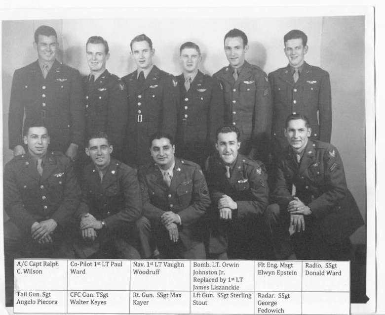 Gathered for a formal portrait are members of the Wilson crew, Crew # 4007 of the 40th Bomb Squadron.  Standing in the back row, left to right are Capt. Ralph C. Wilson (Aircraft Commander), 1st Lt. Paul Ward (Pilot), 1st Lt. Vaughn Woodruff (Navigator), Lt. Orwin Johnson, Jr. (Bombardier), M/Sgt Elwyn Epstein (Flight Engineer) and Sgt. Donald Ward (Radio Operator).  In the front row kneeling are Sgt. Angelo Piecora (Tail Gunner), T/Sgt Walter Keyes (Central Fire Control Gunner), S/Sgt Sterling Stout (Left Gunner) and S/Sgt George Fedowich (Radar Operator)  (Courtesy Mrs. Shirley Bates)