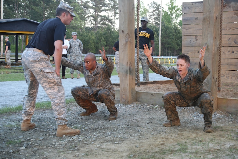 U.S. Army Soldiers participate in an obstacle course during the Ranger Course on Fort Benning, Ga., April 21, 2015. Soldiers attend Ranger school to learn additional leadership and small unit technical and tactical skills in a physically and mentally demanding, combat simulated environment. (U.S. Army photo by Spc. Nikayla Shodeen/Released Pending Review)