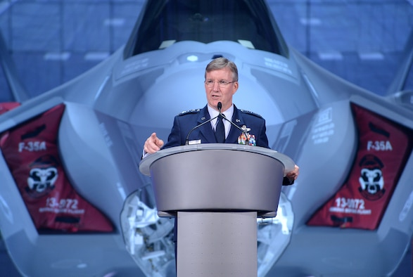 Gen. Hawk Carlisle, the commander of Air Combat Command, speaks at the arrival ceremony for the F-35 Lightning II at Hill Air Force Base, Utah, Oct. 14, 2015. The ceremony marked the formal beginning of F-35 operations at Hill, and commemorated the arrival of the first combat-coded F-35 aircraft which arrived at Hill Sept. 2. (U.S. Air Force photo/R. Nial Bradshaw)