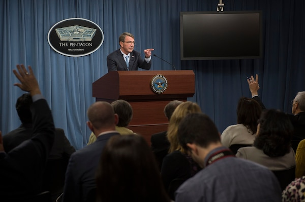 Defense Secretary Ash Carter speaks with reporters during a Pentagon press briefing about the U.S. troop posture in Afghanistan Oct. 15, 2015. DoD photo by U.S. Air Force Senior Master Sgt. Adrian Cadiz