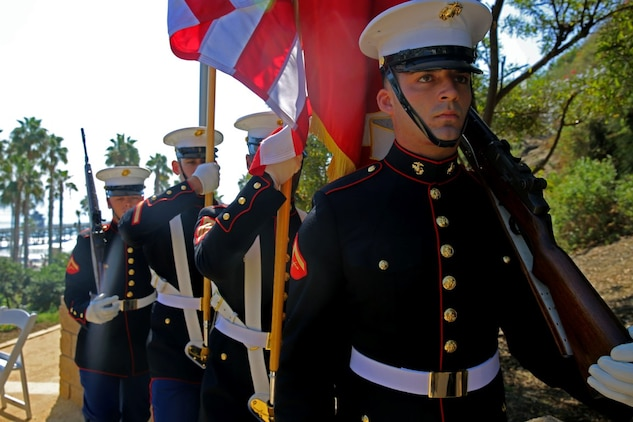 The 1st Marine Division Color Guard marches in during Park Semper Fi's 10th anniversary ceremony at San Clemente, Calif., Oct. 11, 2015. Park Semper Fi was built to pay tribute to the Corps' honor, courage and commitment in service to the United States.