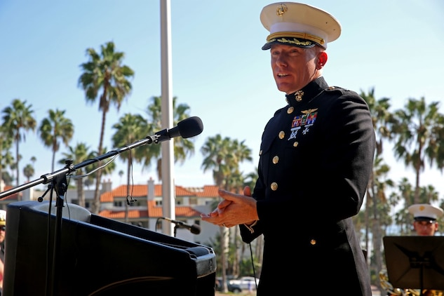 Lieutenant Col. Edward W. Powers, commanding officer of Marine Light Attack Helicopter Squadron 469, 3rd Marine Aircraft Wing, speaks on behalf his unit during Park Semper Fi's 10th anniversary ceremony at San Clemente, Calif., Oct. 11, 2015. The ceremony paid tribute to Marines with HMLA 469 who gave their lives during a humanitarian mission in Nepal, May 12, 2015.