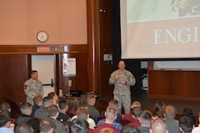 MINNEAPOLIS -- Col. Dan Koprowski, St. Paul District commander, speaks at the University of Minnesota's Reserve Officer's Training Corps, or ROTC, Leadership Lecture Series Oct. 14.
