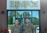Pakistan Army Maj. Qaisar Khan and Maj. Muhammad Ali, students in the Basic Public Affairs Specialist Course at the Defense Information School on Fort Meade, Md., stand in front of the school on Oct. 6, 2015. Khan completed BPASC 070-15 on Oct. 7, and Ali is scheduled to graduate from BPASC 080-15 on Nov. 16.