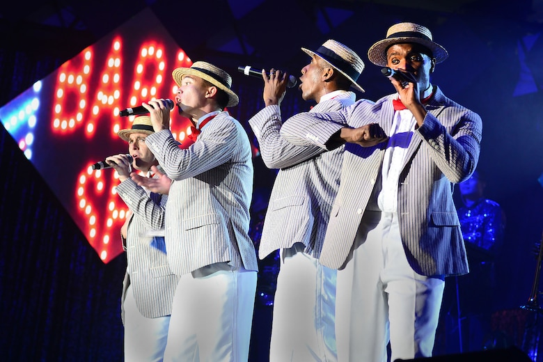 Members of Tops in Blue perform a show at the Hampton Roads Convention Center in Hampton, Va., Oct. 6, 2015. The performance group is one of the oldest and most widely traveled entertainment groups of its kind. (U.S. Air Force photo/Senior Airman Kimberly Nagle)