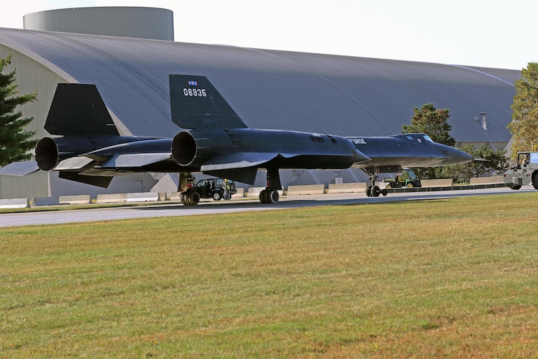 Restoration staff move the Lockheed YF-12A into the new fourth building at the National Museum of the U.S. Air Force on Oct. 13, 2015. (U.S. Air Force photo by Don Popp)