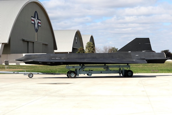 Restoration staff move the Lockheed D-21B into the new fourth building at the National Museum of the U.S. Air Force on Oct. 13, 2015. (U.S. Air Force photo by Don Popp)