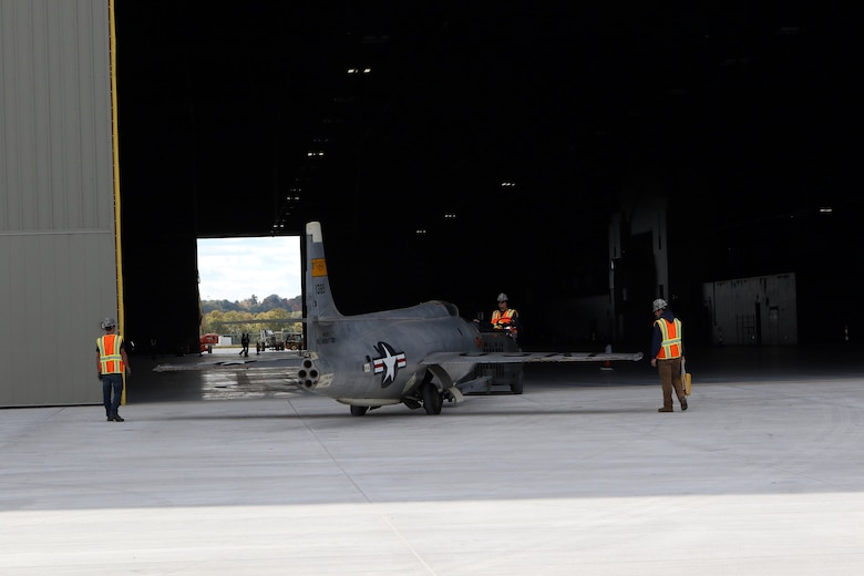 Restoration staff move the Bell X-1B into the new fourth building at the National Museum of the U.S. Air Force on Oct. 13, 2015. (U.S. Air Force photo by Don Popp)
