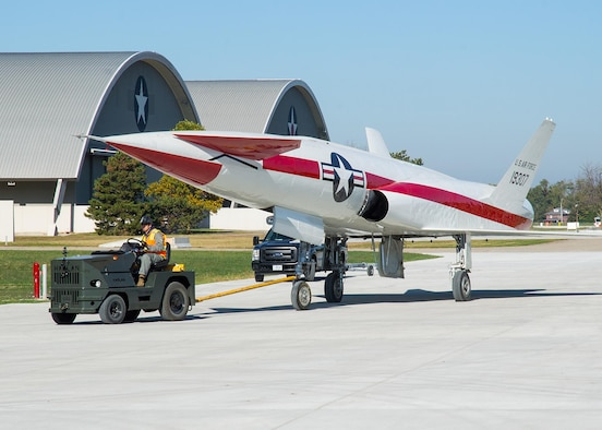 Restoration staff move the North American X-10 into the new fourth building at the National Museum of the U.S. Air Force on Oct. 14, 2015. (U.S. Air Force photo by Ken LaRock)