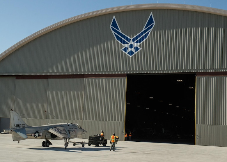 Restoration staff move the Hawker Siddeley XV-6A into the new fourth building at the National Museum of the U.S. Air Force on Oct. 8, 2015. (U.S. Air Force photo by Ken LaRock)