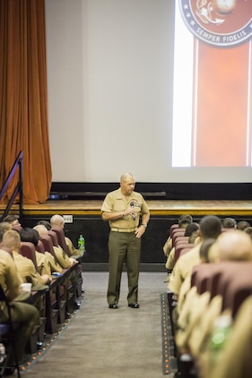 """Gen. Robert B. Neller, 37th Commandant of the Marine Corps, addressed Marines, sailors, and civilian personnel at the Lasseter Theater aboard Marine Corps Air Station Beaufort Oct. 16. """"We have to train hard and relentlessly so we can be ready to fight at any time,"""" said Neller. """"I don't know when or where our next fight is but it's coming, and we have to be strong."""" During his talk, the commandant touched on leadership, his expectations and vision for the future of the Corps, and responded to Marines' questions. Neller visited the air station after attending the Parris Island Centennial Celebration."""