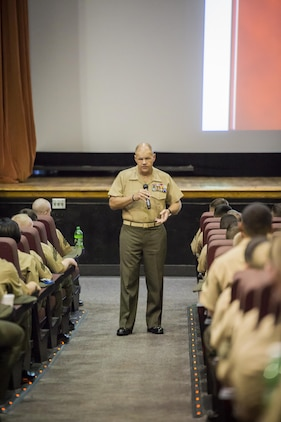 """Gen. Robert B. Neller, 37th Commandant of the Marine Corps, addressed Marines, sailors, and civilian personnel at the Lasseter Theater aboard Marine Corps Air Station Beaufort Oct. 16. """"The Marine Corps has been uncontested on the battlefield. The nation knows that we are the best and we will get the job done,"""" said Neller. During his talk, the commandant touched on leadership, his expectations and vision for the future of the Corps, and responded to Marines' questions. Neller visited the air station after attending the Parris Island Centennial Celebration."""