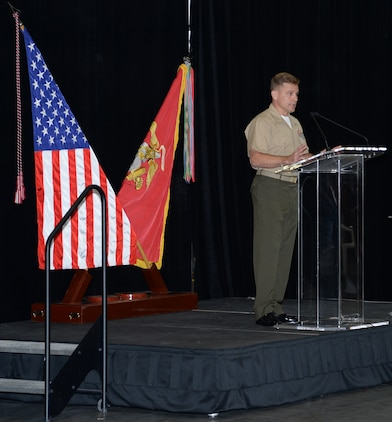 Col. Brian G. Hughes, (center) commanding officer, Blount Island Command and Marine Corps Support Facility Blount Island in Jacksonville, Fla., speaks to Marines, civilian-Marines and contractor employees during a Voluntary Protection Program Star sites ceremony, Oct. 16.