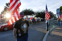 Participants of the Arizona Run for the Fallen begin their 3-day run from Freedom park in Tucson, Ariz., Oct 16, 2015. Fifteen Airmen from Davis-Monthan Air Force Base  are participating in the three-day event, traveling from Tucson to Phoenix. (U.S. Air Force photo by Staff Sgt. Angela Ruiz/Released)