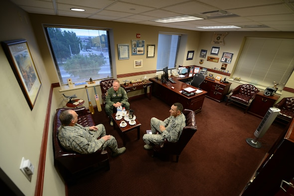From left, Brig. Gen. (Dr.) Lee E. Payne, Air Force Medical Operations Agency commander, Col. Darrell Judy, 47th Flying Training Wing vice commander, and Col. Mike Patronis, 47th Medical Group commander, conduct an office call on Laughlin Air Force Base, Texas, Oct. 15, 2015. Laughlin Air Force Base hosted the commander of AFMOA to provide an in-depth look into its mission and to offer an opportunity to interact with the Airmen of the 47th Medical Group Oct. 14-15. (U.S. Air Force photo by Tech Sgt. Steven R. Doty)(Released)