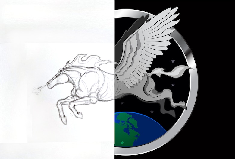 Digital rendering from a sketch of a Pegasus stems from the aircraft's geographical lineage where it moved from Eielson Air Force Base, Alaska, to Offutt in 1992. The Pegasus is a symbol of flying muscle and power and this is the second approved piece of nose art.   (U.S. Air Force photo Illustration by Josh Plueger/Released)