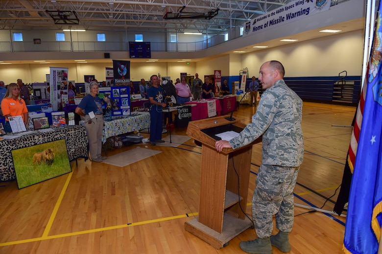 Col. Scott Romberger, 460th Space Wing vice commander, addresses participants at the 2015 Combined Federal Campaign Kick-off event Oct. 15, 2015, at the Fitness Center on Buckley Air Force Base, Colo. The CFC is held annually to encourage federal employees to donate to the more than 16,000 participating non-profit agencies around the world. (U.S. Air Force photo by Senior Airman Phillip Houk/Released)