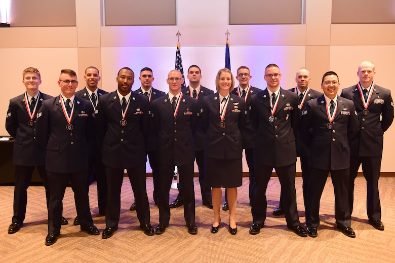 Buckley Airman Leadership School Class 15-G stands together after their graduation Oct. 15, 2015, at the Leadership Development Center on Buckley Air Force Base, Colo. This graduation represents an important part of the enlisted force professional military education, teaching valuable skills required for supervisors. (U.S. Air Force photo by Airman 1st Class Luke W. Nowakowski/Released)