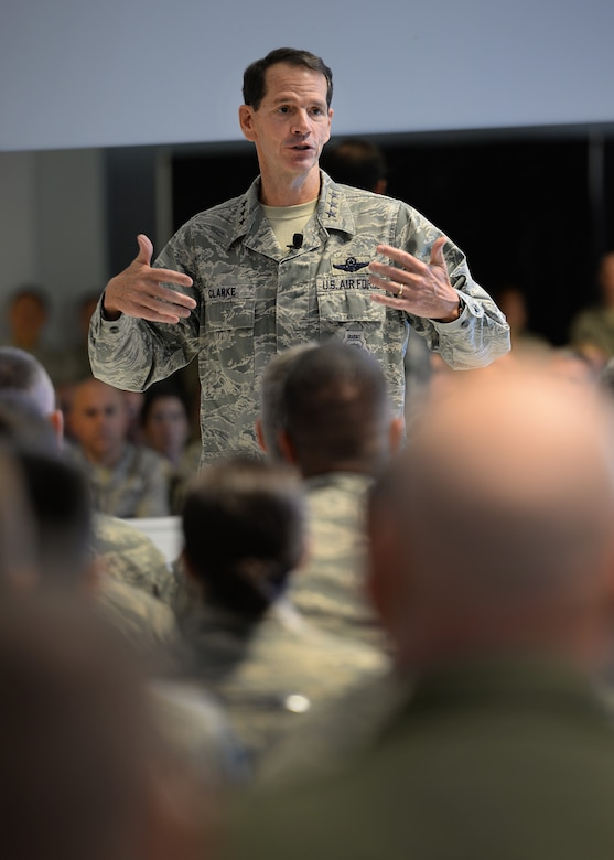 "The director of the Air National Guard, Lt. Gen. Stanley E. ""Sid"" Clarke III, speaks with members of the 157th Air Refueling Wing during an all-call at Pease Air National Guard Base, New Hampshire, Oct. 15. During the all-call, Clarke expressed his confidence in the Airmen of the wing, discussed ANG manning, the future of Total Force Integration and answered questions during a Q&A session with Airmen. (U.S. Air National Guard photo by Senior Airman Kayla McWalter)"