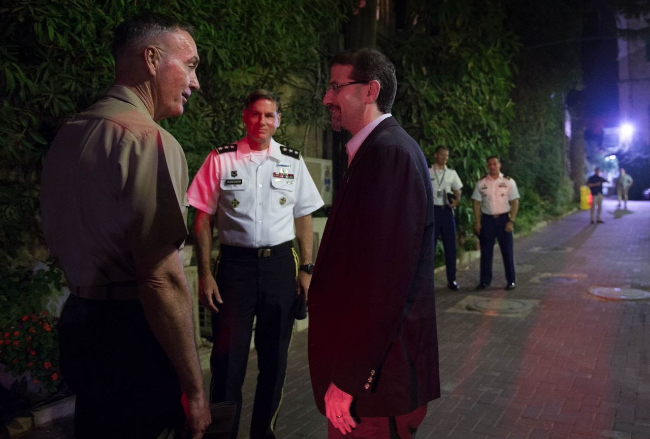 U.S. Ambassador to Israel Daniel B. Shapiro meets with U.S. Marine Corps Gen. Joseph F. Dunford Jr., chairman of the Joint Chiefs of Staff, at the U.S. Consulate in Jerusalem, Oct. 17, 2015. DoD photo by D. Myles Cullen