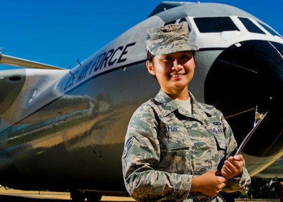 Air Force Reserve Senior Airman Anne Venice Jalos, 446th Airlift Wing finance manager, stands in Heritage Park at McChord Field, Wash., Aug. 7, 2015. Jalos became a U.S. citizen after completing Air Force basic military training. U.S. Air Force Reserve photo by Senior Airman Daniel Liddicoet