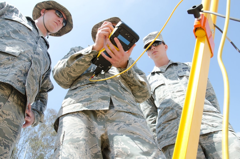 Tech Sgt. Nick Ketterer (left), Staff Sgt. Abe Hilbers (middle) and Staff Sgt. Daniel Brooks (right), all engineers for the Kentucky Air National Guard's 123rd Civil Engineer Squadron, utilize surveying equipment during a training scenario at March Air Reserve Base, Calif., on June 10, 2015. The exercise was designed to simulate a real-world mission. (U.S. Air National Guard photo by Senior Airman Joshua Horton)