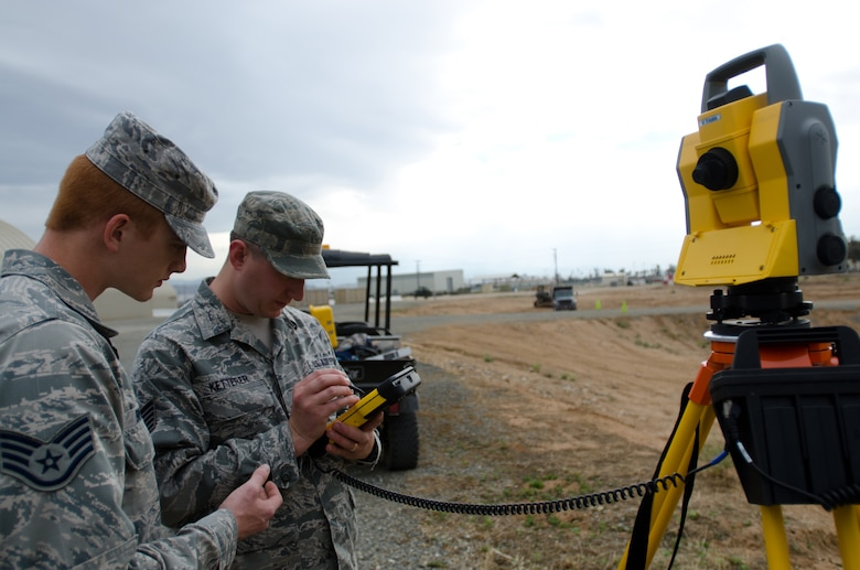 Staff Sgt. Daniel Brooks (left) and Tech Sgt. Nick Ketterer of the Kentucky Air National Guard's 123rd Civil Engineer Squadron train with surveying equipment during an exercise at March Air Reserve Base, Calif., June 9, 2015. The exercise was designed to simulate a real-world mission. (U.S. Air National Guard photo by Senior Airman Joshua Horton)