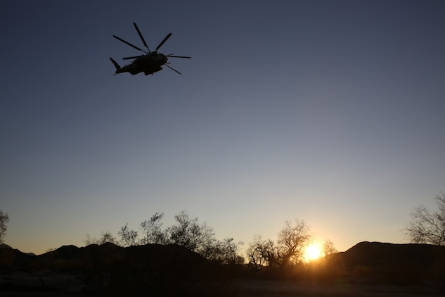A CH-53E Super Stallion helicopter with 3rd Marine Aircraft Wing, takes off after inserting Marines during Talon Exercise 1-16 at Marine Corps Air Station, Yuma, Ariz., Oct. 13, 2015. The training took place at Baker's Peak, a rugged desert training area located on the approximately 1,700,000 acre Barry M. Goldwater Range and was part of a larger event called Talon Exercise, which focused on offensive and defensive operations in desert and urban environments.