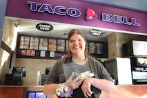 Patricia Barson, who works at Taco Bell in Hill Air Force Base's exchange food court, was honored Oct. 16, 2015, as one of the Defense Department's outstanding employees with a disability. Patricia was selected for the award from among 32,000 AAFES employees worldwide. (U.S. Air Force photo/Micah Garbarino)