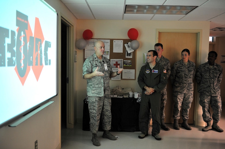 Col. (Dr.) Thomas Harrell, 81st Medical Group commander, gives remarks during the Base Operation Medicine Cell grand opening at the Keesler Medical Center, Sept. 28, 2015, Keesler Air Force Base, Miss. The Keesler BOMC is working to standardize Air Force healthcare by standardizing Public Health Assessments, Deployment Health Assessments, flight physicals and clearance physicals in order to make direct patient care more accessible, personal and timely. This clinic is the first of its kind in the Air Force. (U.S. Air Force photo by Airman 1st Class Duncan McElroy)