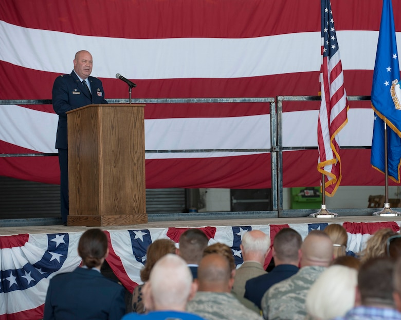 U.S. Air Force Major Garth Ranz, 489th Maintenance Squadron commander, speaks to a crowd during the 489th Bomb Group reactivation ceremony, Oct. 17, 2015, at Dyess Air Force Base, Texas. Establishing a reserve unit helps retain Airmen already trained in their fields when they choose to leave active duty, allowing reservists to collaborate with active duty members in a local environment for more seamless collaborations when deployed.  (U.S. Air Force photo by Airman Quay Drawdy/Released)
