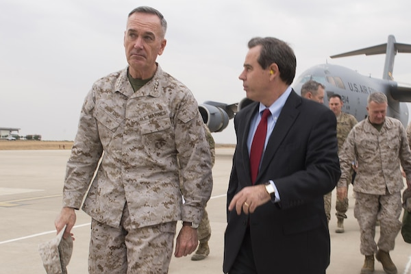U.S. Ambassador to Iraq Stuart E. Jones greets U.S. Marine Corps Gen. Joseph F. Dunford Jr., chairman of the Joint Chiefs of Staff, upon his arrival in Irbil, Iraq, Oct. 20, 2015. DoD photo by D. Myles Cullen