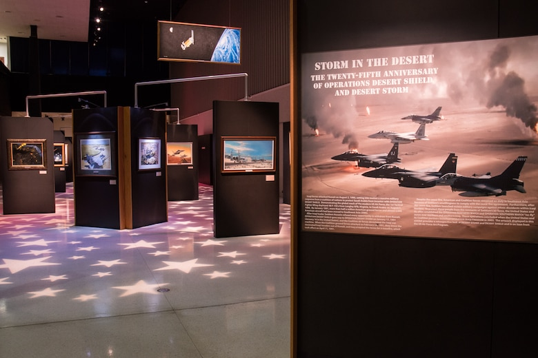 An art exhibit commemorating the 25th anniversary of Operations Desert Shield and Desert Storm will be open through Labor Day 2016 at the National Museum of the U.S. Air Force. (U.S. Air Force photo)