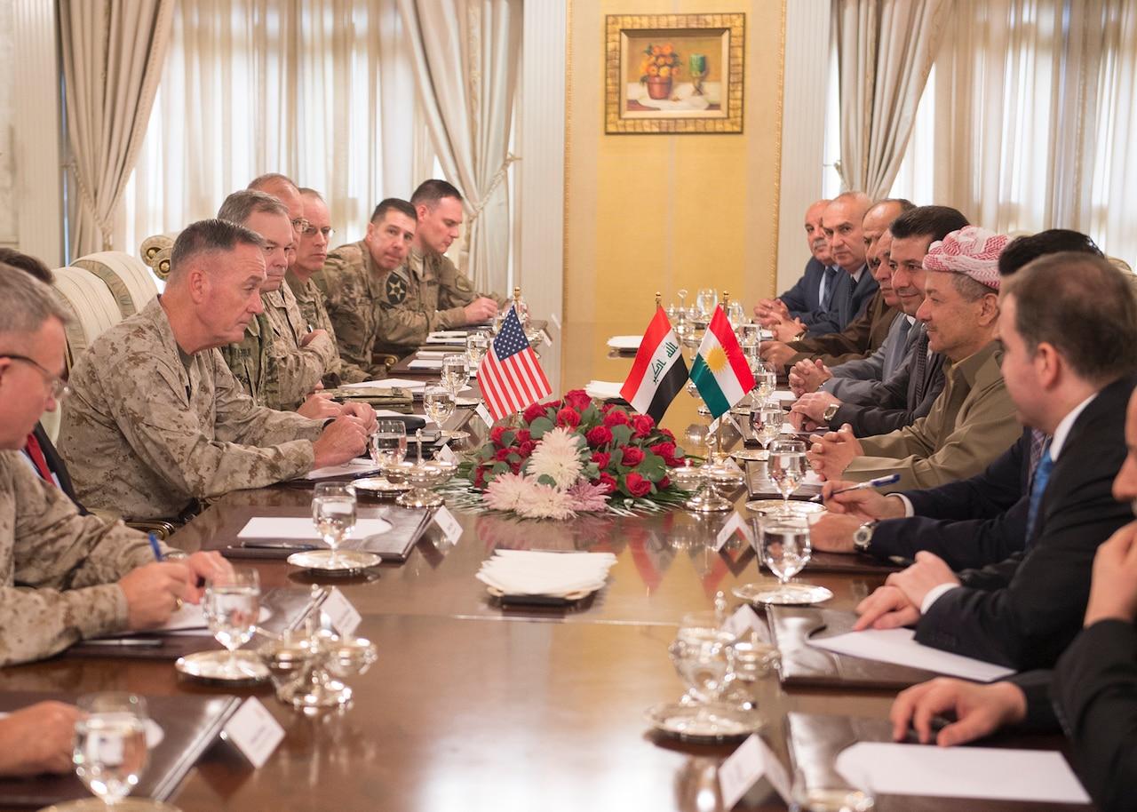 U.S. Marine Corps Gen. Joseph F. Dunford Jr., center left, chairman of the Joint Chiefs of Staff, meets with Kurdish President Massoud Barzani and other Kurdish officials in Irbil, Iraq, Oct. 20, 2015. DoD photo by D. Myles Cullen
