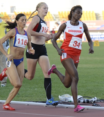 U.S. Air Force 2nd Lt. Annette  Eichenberger Melcher (center) competess in the final for the 800-meter run at the CISM World Games in MunGyeoung, South Korea, Oct. 5, 2015.  She finished 8th with at time of 2:07.61.
