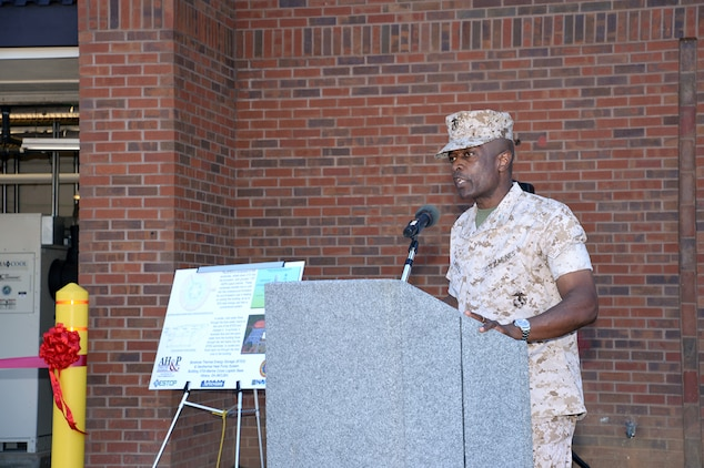 Col. James C. Carroll III, commanding officer, Marine Corps Logistics Base Albany, addresses attendees during a ribbon-cutting ceremony for the Borehole Thermal Energy Storage system - a state-of-the-art ground source heat pump system – for Marine Corps Logistics Command's headquarters building 3700, here, Oct. 19.