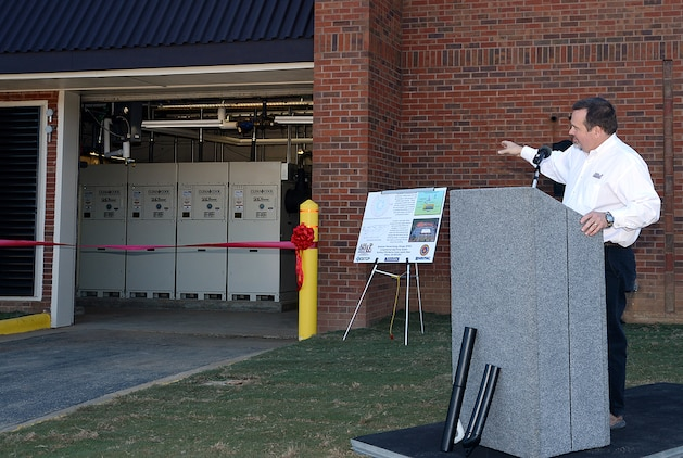 Chuck W. Hammock Jr., principal engineer, Andrews, Hammock & Powell, Inc., Macon, Ga., discusses the implementation of America's first Borehole Thermal Energy Storage system - a state-of-the-art ground source heat pump system – during a ribbon-cutting ceremony aboard Marine Corps Logistics Base Albany, Oct. 19.