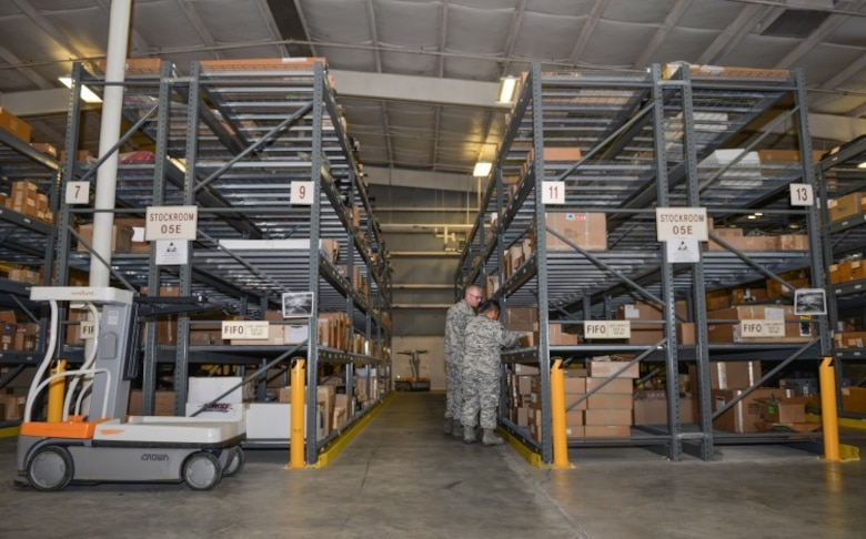Senior Airman Kevin Serrano, 96th Logistics Readiness Squadron F-35 supply journeyman, and Tech. Sgt. Heith Johnson, 96th LRS F-35 supply NCO in charge, inventory supplies and equipment used to support the 5th generation fighter training mission at Eglin Air Force Base, Fla., Oct. 15, 2015. Materiel management Airmen handle and deliver equipment for both the F-35 Lightning II A and C variants. (U.S. Air Force Photo/Senior Airman Andrea Posey)